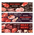 banners with pictures of meat brochure design vector image vector image