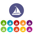 boat with sails set icons vector image vector image