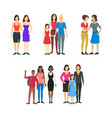 cartoon characters different female homosexual vector image vector image
