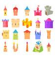 castle icon set cartoon style vector image vector image