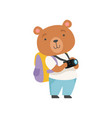 cheerful tourist bear taking pictures with camera vector image vector image