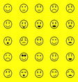 Circle face icons on yellow background vector image vector image