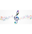 colorful music notes background vector image vector image