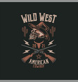 cowboy skull t shirt graphic design vector image vector image