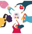 diverse group of women feminine girl power vector image vector image