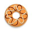 Donut with chocolate and white glaze icon vector image