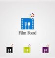 film food with spoon and fork logo icon element vector image vector image
