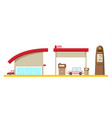 flat design gas station with cars isolated on vector image