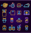 food order delivery neon icons vector image vector image