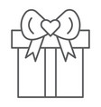 gift thin line icon package and present parcel vector image vector image