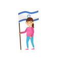 girl holding national flag of israel design vector image vector image