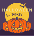 halloween party card with pumpkins and night moon vector image vector image