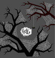 halloween spider wove a web on trees flat design vector image vector image