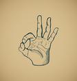 Hand draw sketch vintage okay hand sign vector image vector image