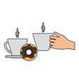 hand with coffee cups and donut vector image vector image