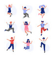 happy boys and girls happily jumping set smiling vector image vector image
