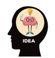 head silhouette with brain cartoon vector image vector image