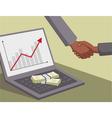International handshake and money on laptop vector image