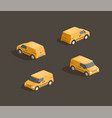 isometric yellow minivan vector image