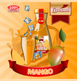 juice mango ads with logo and label realistic vector image vector image