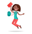 jumping african girl student with notebook and bag vector image vector image