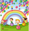 Kids playing with floating balloons and rainbow in vector image vector image