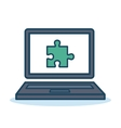 laptop with puzzle icon design isolated vector image