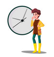 late girl fright looking at the clock vector image
