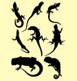 lizards silhouettes vector image