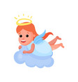 lovely redhead little angel playing on a cloud vector image