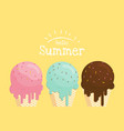 melting ice cream in waffle cone hello summer vector image vector image