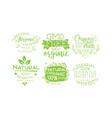 natural organic fresh food labels set gmo free vector image vector image