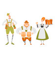 oktoberfest set characters in bavarian costumes vector image
