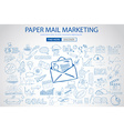 Paper email Marketing with Doodle design style vector image vector image
