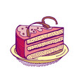 piece of cake on plate pie isolated dessert on vector image vector image