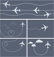 Plane flight - dotted trace of the airplane vector image vector image