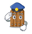 police brown wooden fence isolated on character vector image vector image