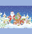 santa with gifts on a snow-covered roof vector image vector image