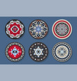 set ethnic round rugs with geometric aztec vector image vector image