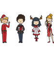 set people dressed up for christmas vector image vector image