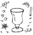 sketch glass with irish coffee hand drawn vector image