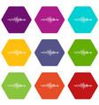 sound wave icon set color hexahedron vector image vector image