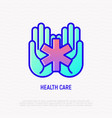 star of life symbol in hands medical help icon vector image