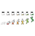 weekly working life evolution phone signal vector image vector image