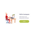 woman using laptop watching live video streaming vector image vector image