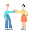 young people giving each other five in flat style vector image vector image