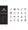 20 thin line real estate icons vector image vector image