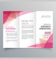 abstract pink trifold business brochure design vector image vector image