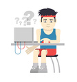 Athlete Sitting at the Computer vector image vector image
