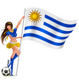 beautiful young female fan holding flag of uruguay vector image vector image